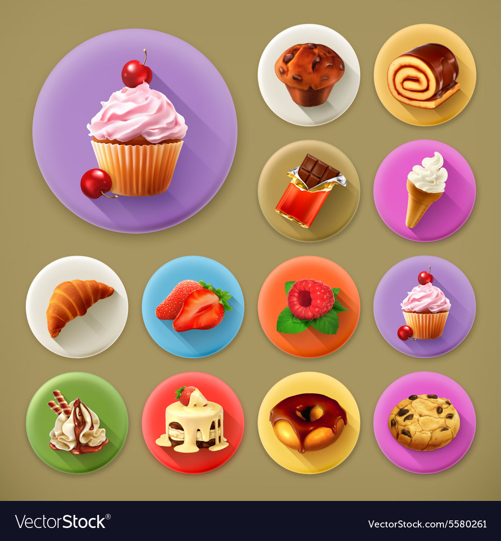 Sweet and tasty long shadow icon set