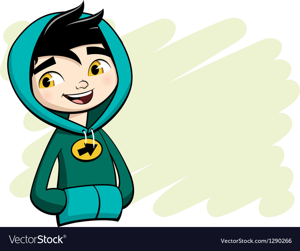 cool boy posing in green hooded shirt royalty free vector