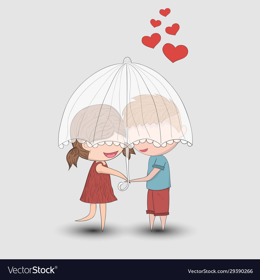 Cute Cartoon Doodle Lovers A Boy And A Girl Under Vector Image