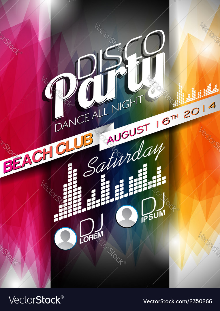 Disco Party Flyer Design on abstract background vector image