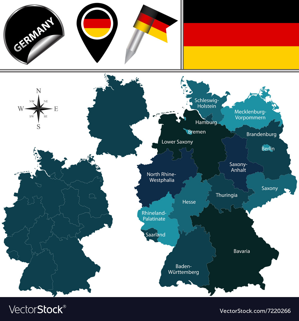 Germany map with named divisions vector image