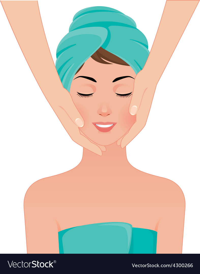 Girl Gets A Face Massage In Spa Salon Royalty Free Vector