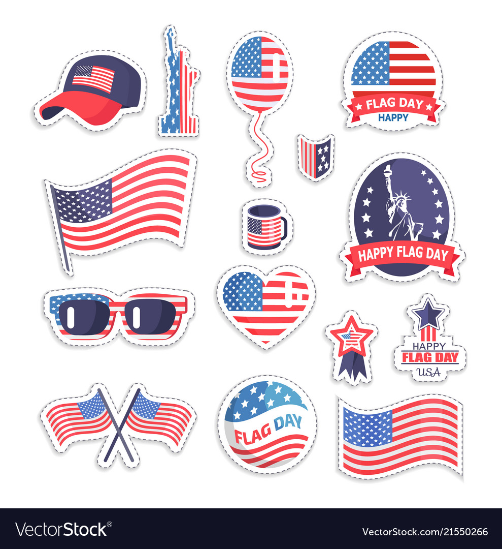 Happy flag day icons set color