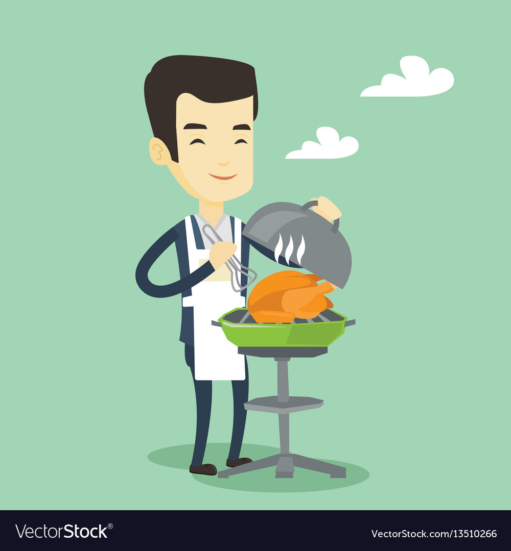 Man cooking chicken on barbecue grill