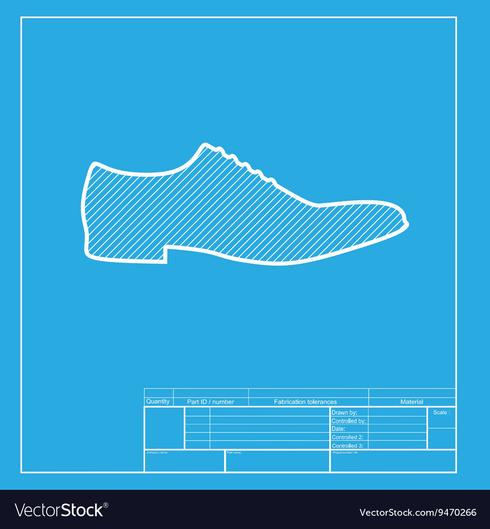 Men shoes sign white section of icon on blueprint vector image malvernweather Choice Image