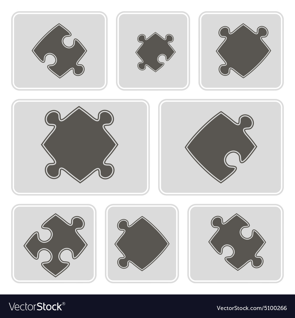 Monochrome icons with puzzle