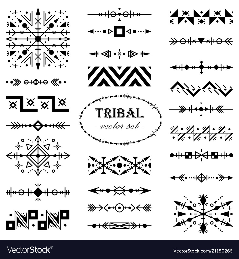Monochrome set of design elements in tribal style