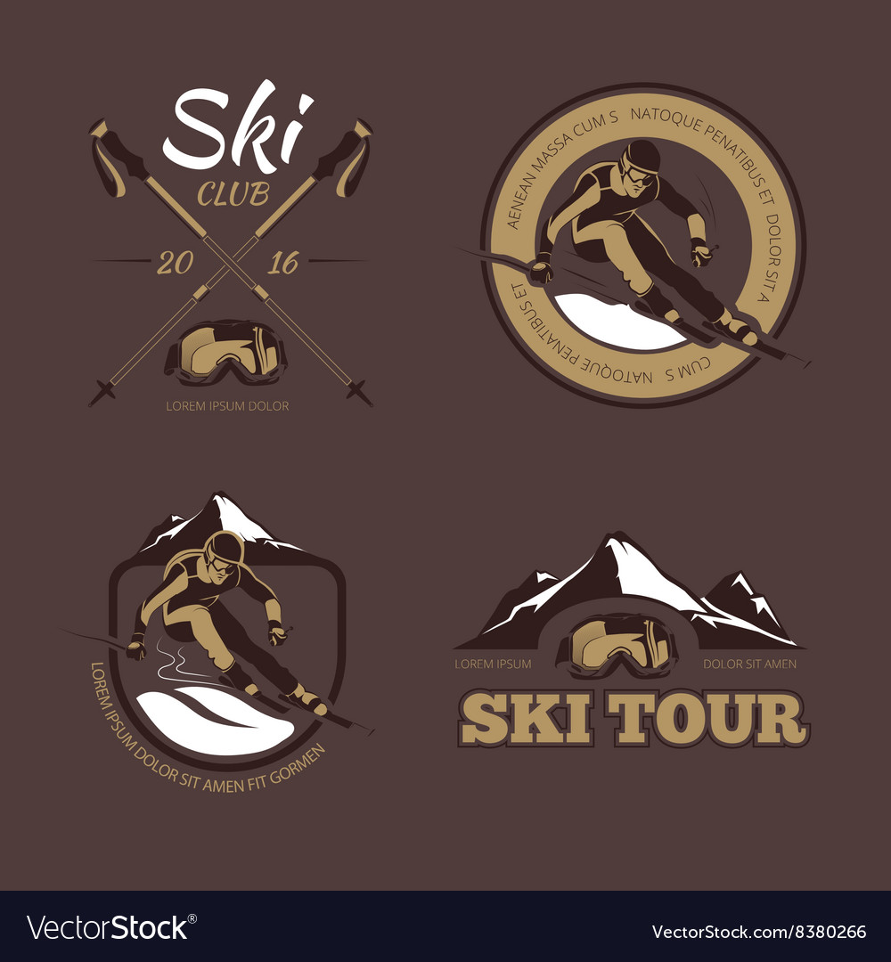 Nordic skiing emblems labels badges