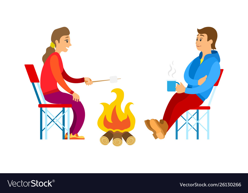 People in sport suit picnic and bonfire