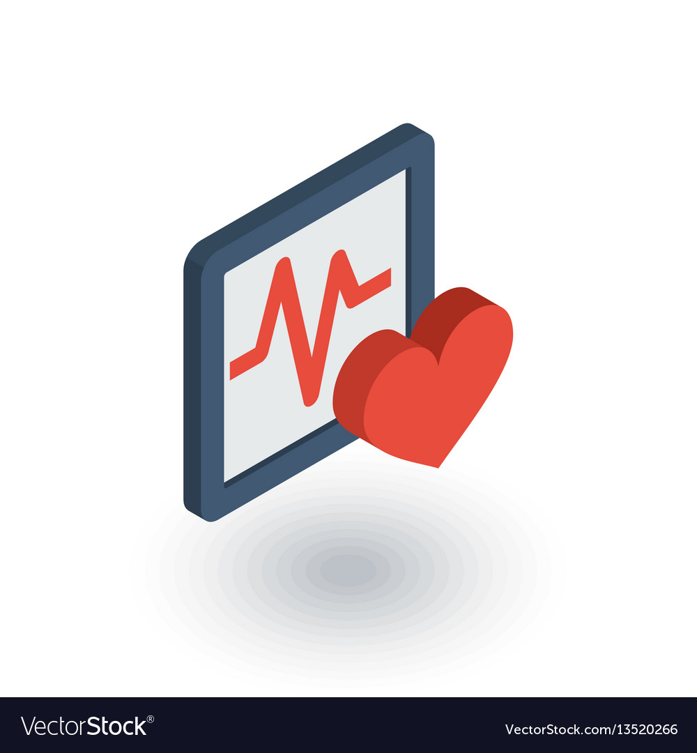 Pulse ecg cardiogram isometric flat icon 3d vector image