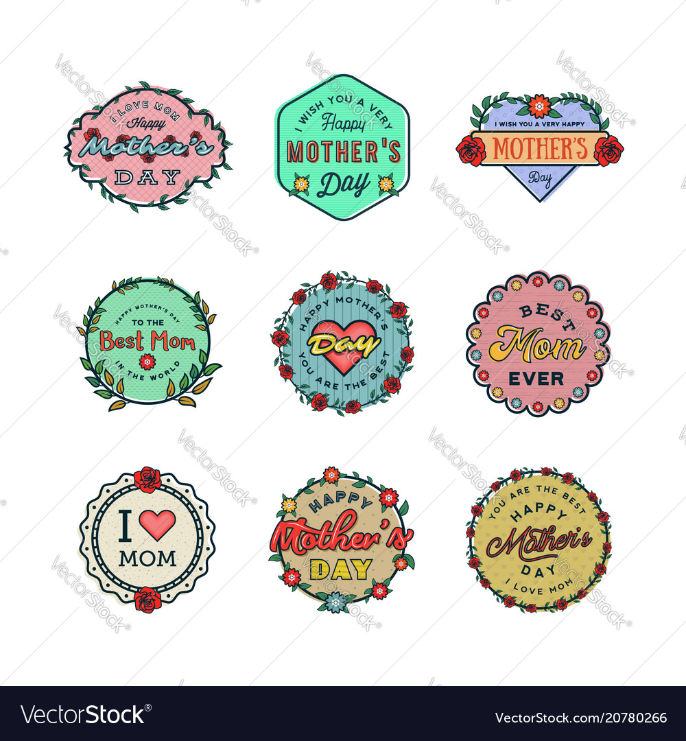 Set happy mothers day badges