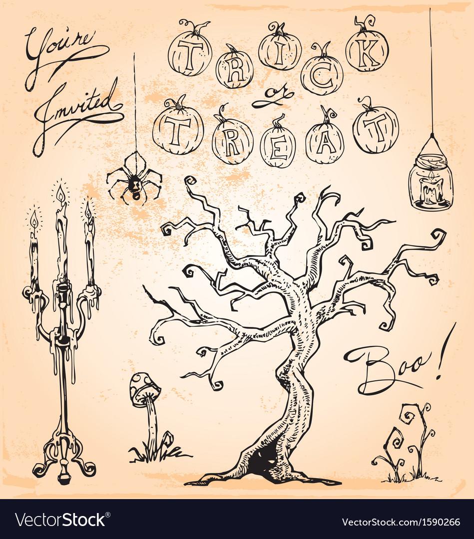 Vintage Halloween Hand Drawn Set Four