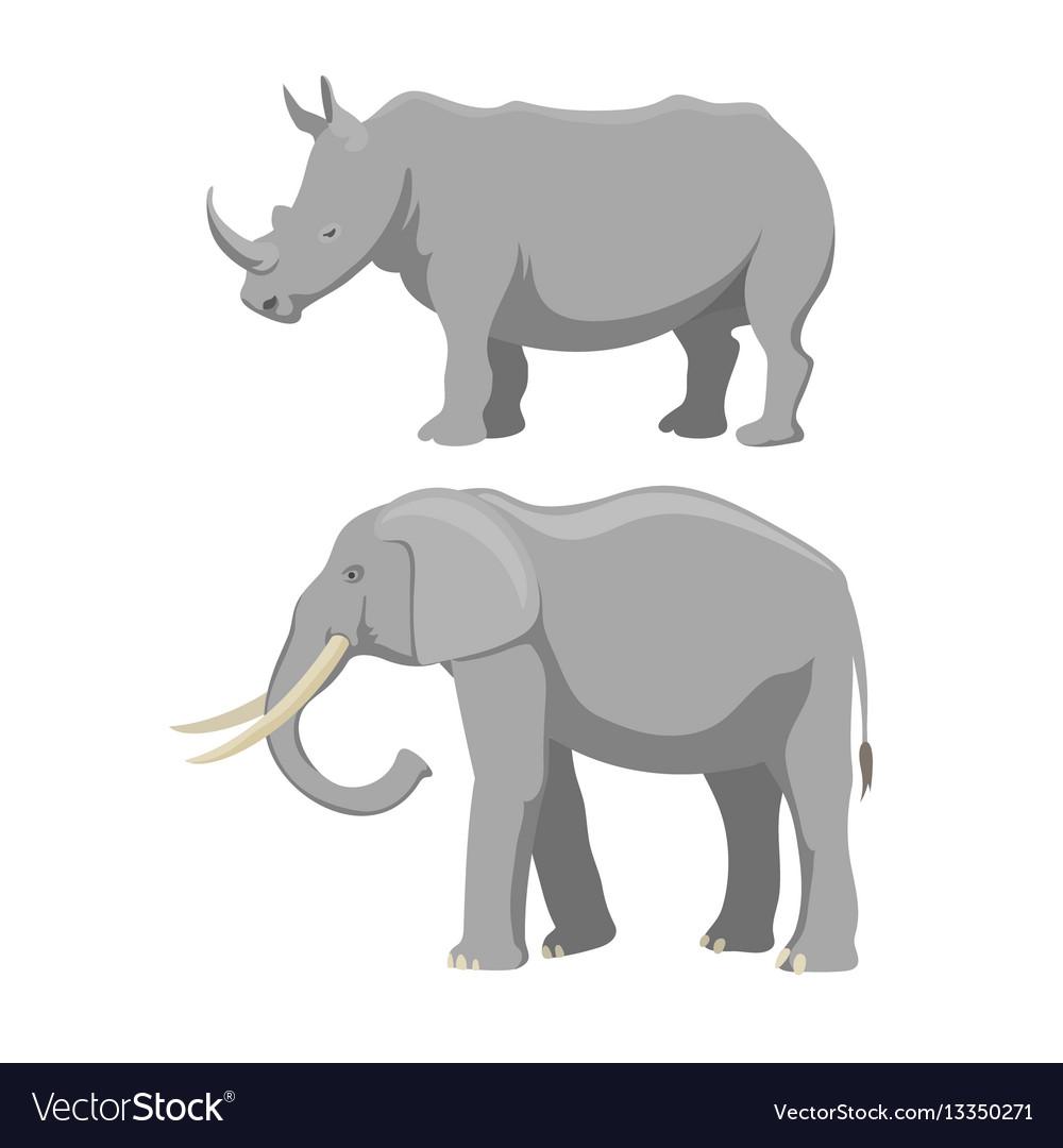 African elephant and rhinoceros cartoon
