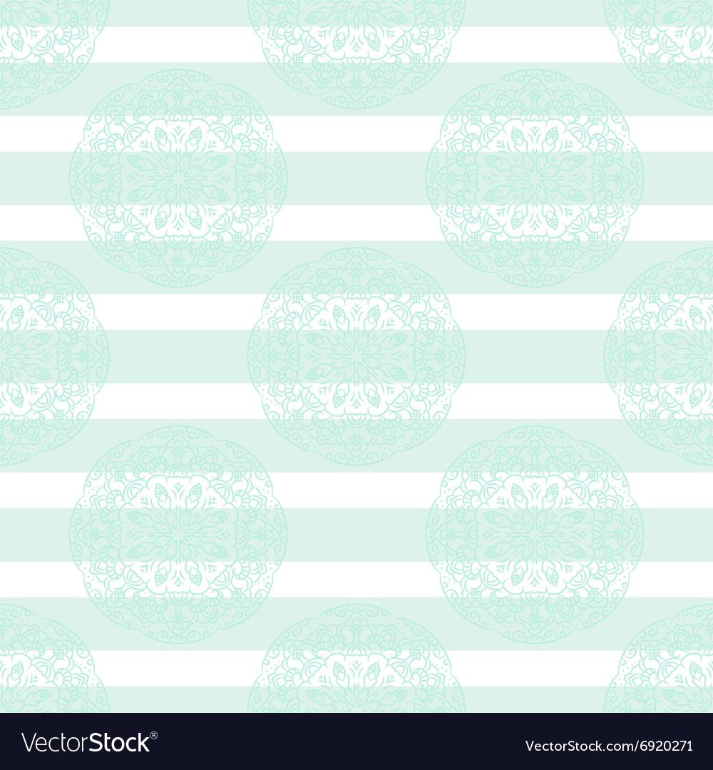 Baby blue mandala subtle striped seamless pattern