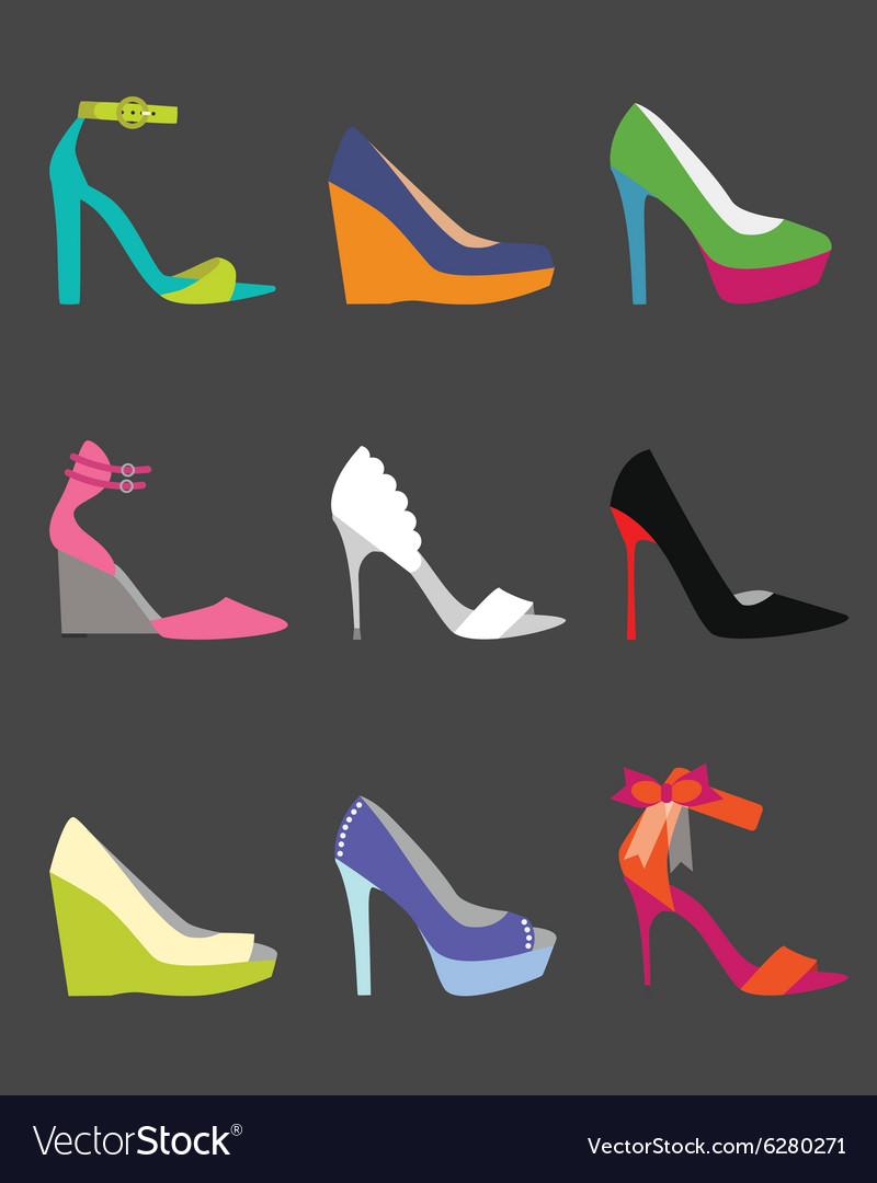 Coloful shoe icon set vector image