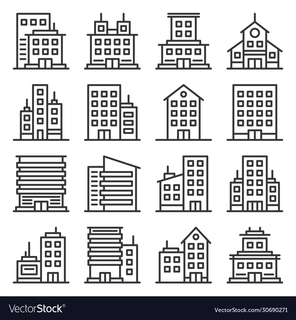 Company buildings icons set on white background