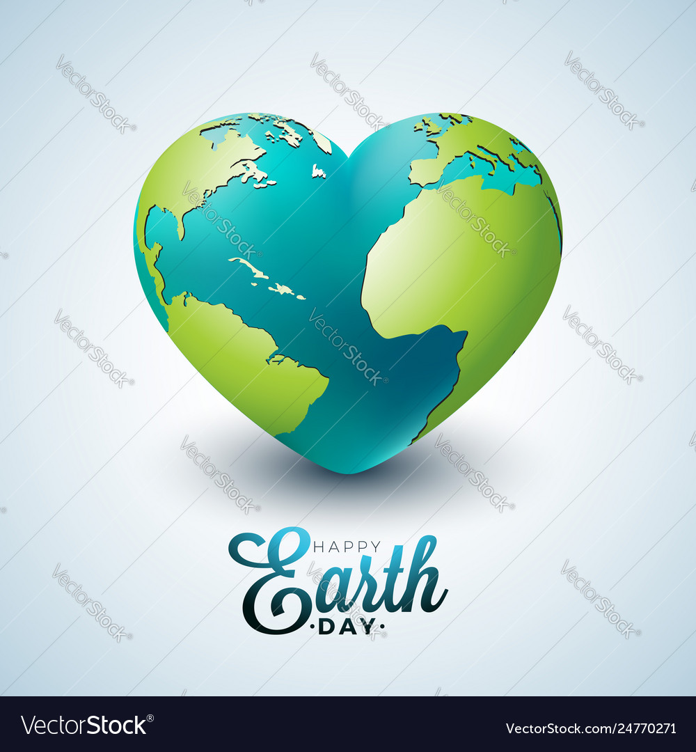 Earth day with planet in heart
