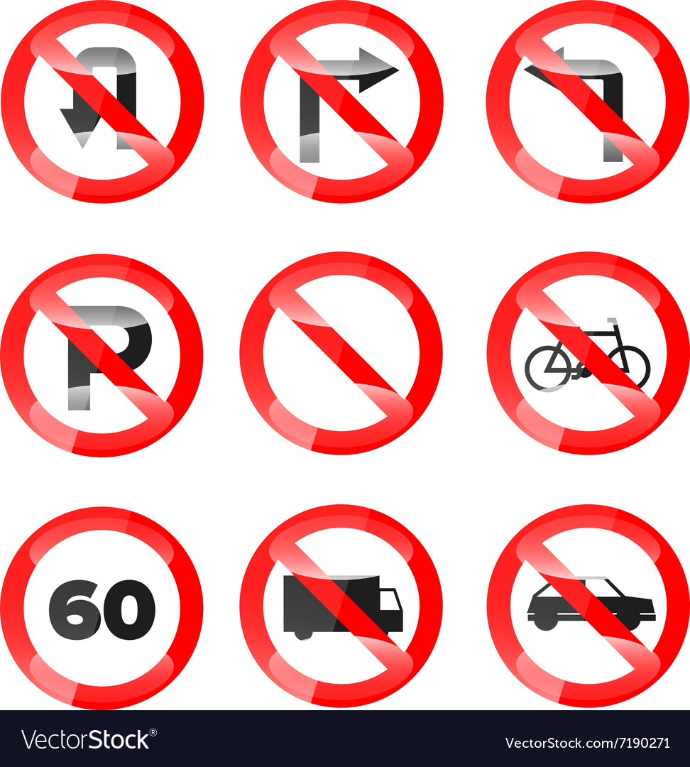Glossy Road Signs set 02 vector image