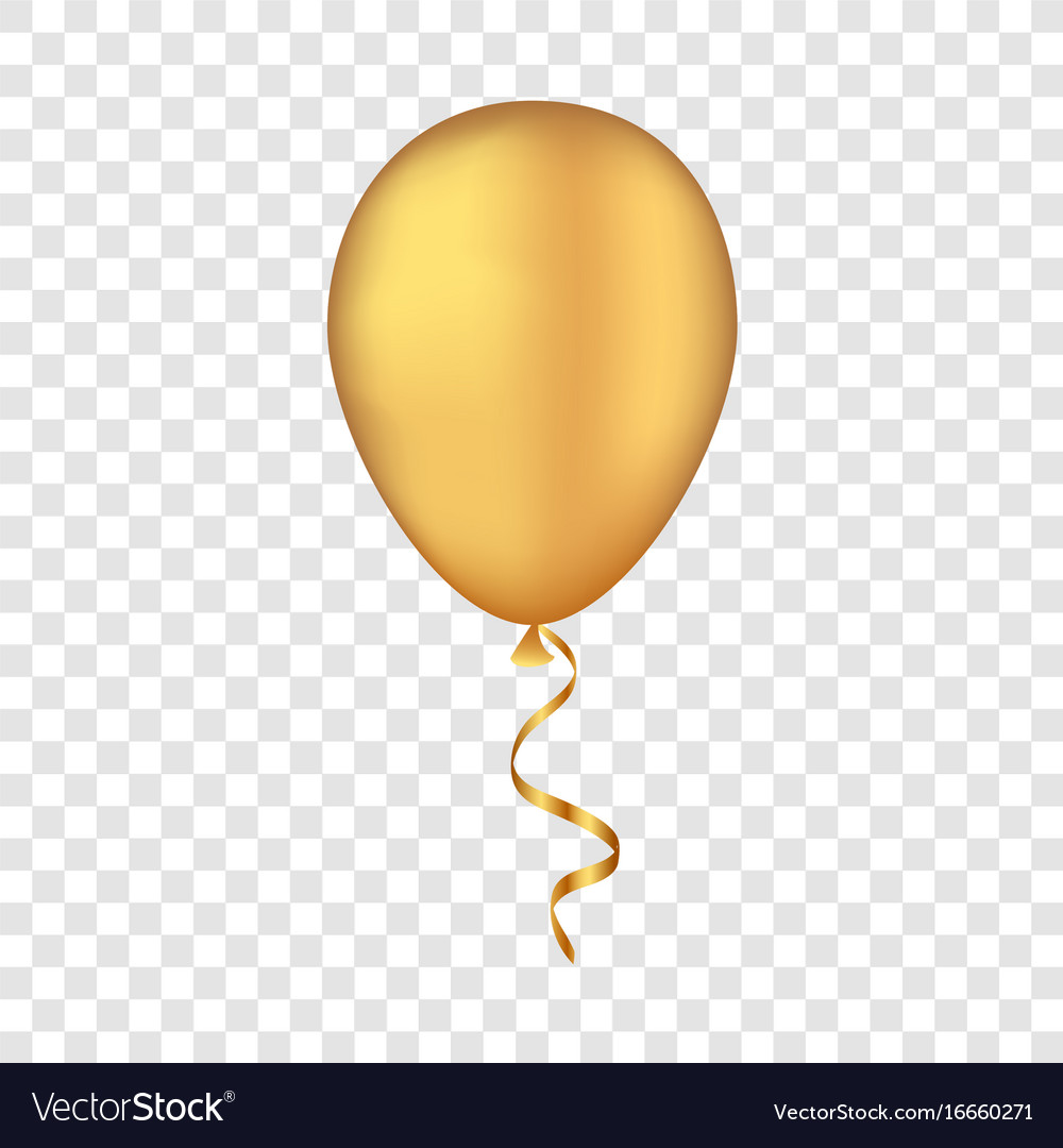 gold balloon on a transparent background vector image