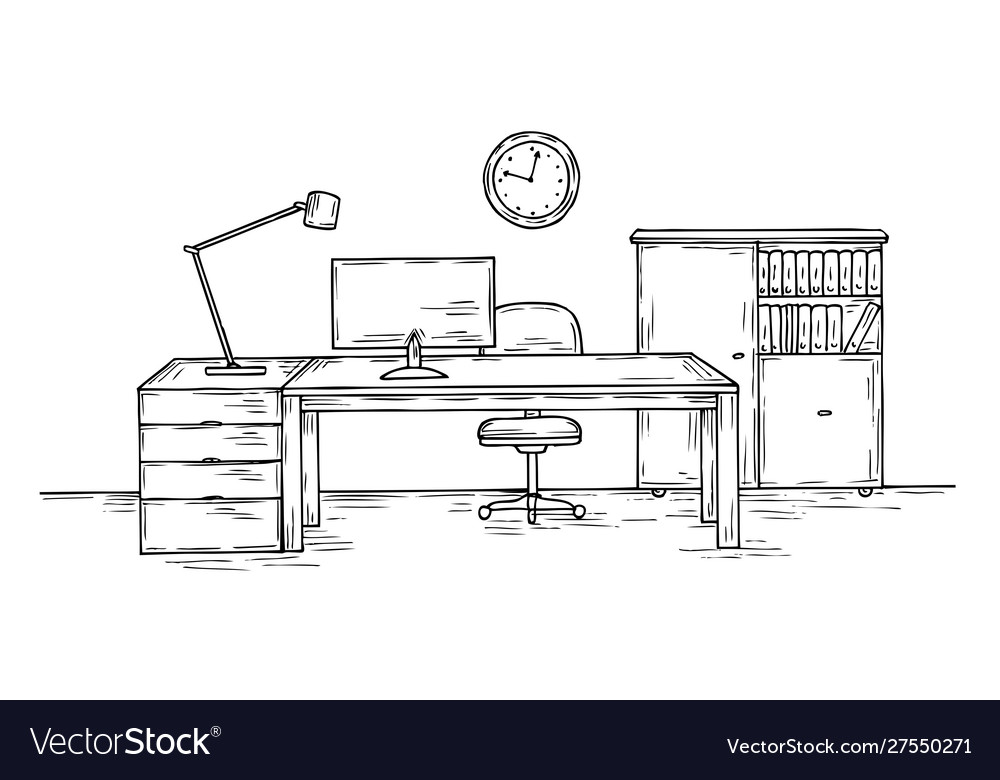 Hand drawn office sketch desk with chair computer
