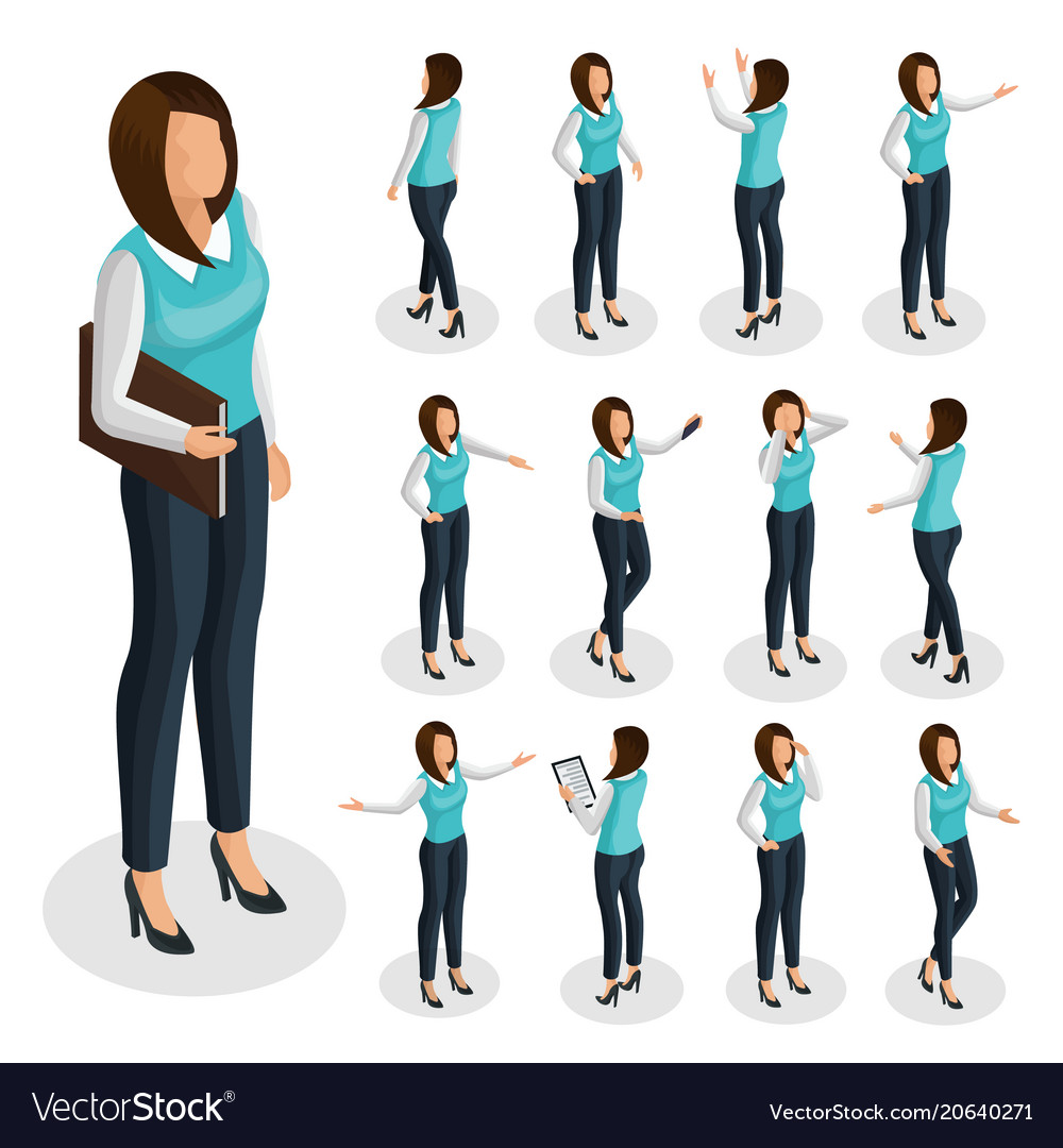 Isometric business woman set vector image