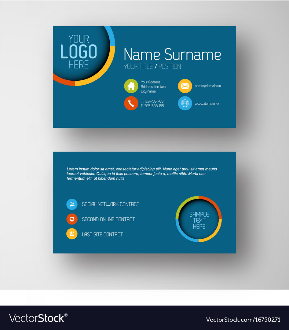 Modern blue business card template with flat user vector image cheaphphosting Gallery