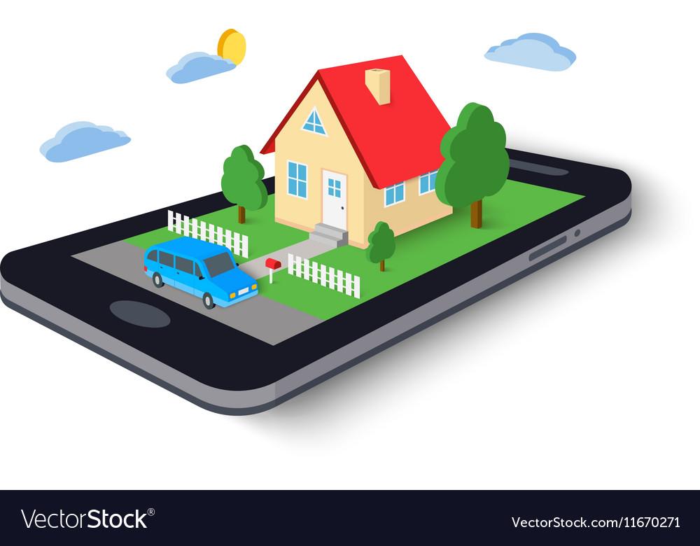 Remote home control concept icon