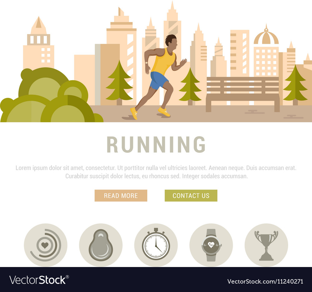 Running Man Template For Website And Banners Vector Image