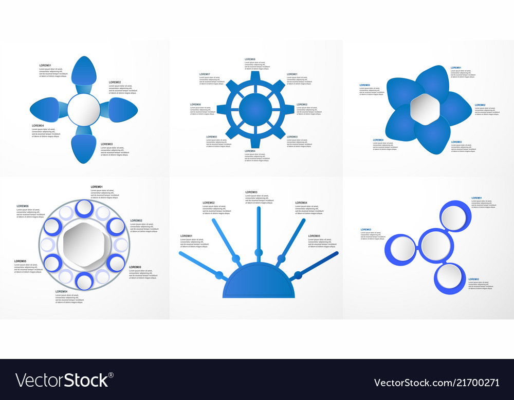 Set of blue infographics elements with paper cut