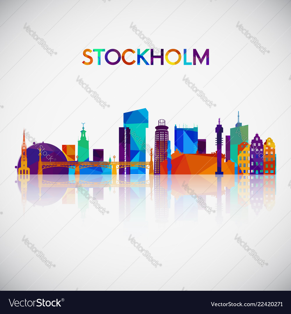 Stockholm skyline silhouette in colorful