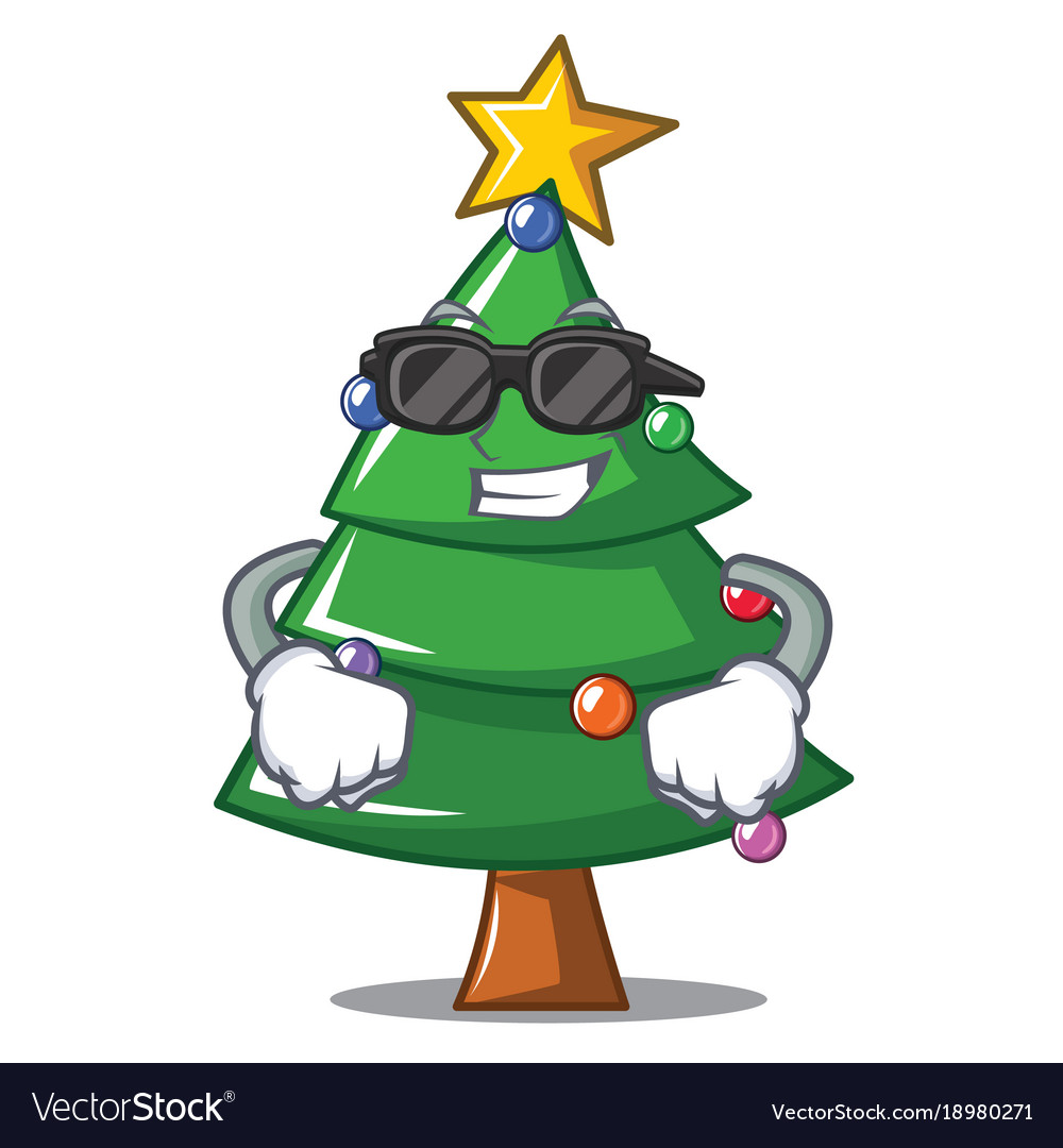 Cool Christmas Trees.Super Cool Christmas Tree Character Cartoon