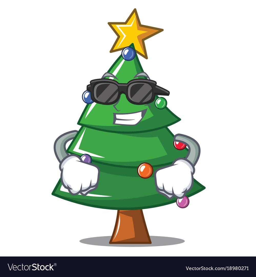 Cool Christmas Tree.Super Cool Christmas Tree Character Cartoon