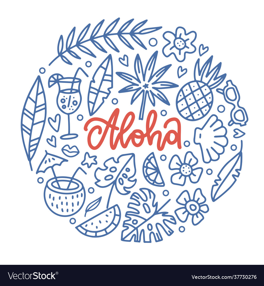 Aloha tropical paradise banner template with