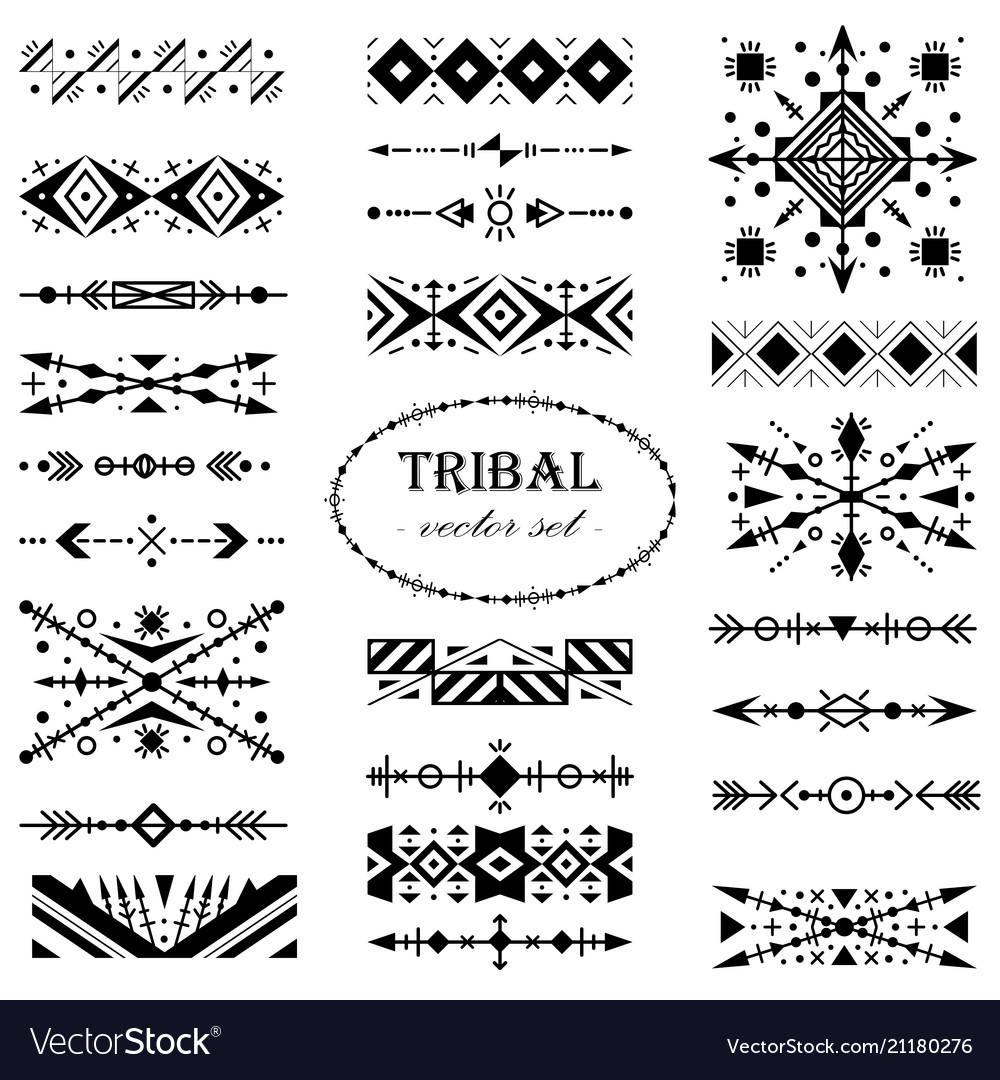Black-and-white tribal set of design elements