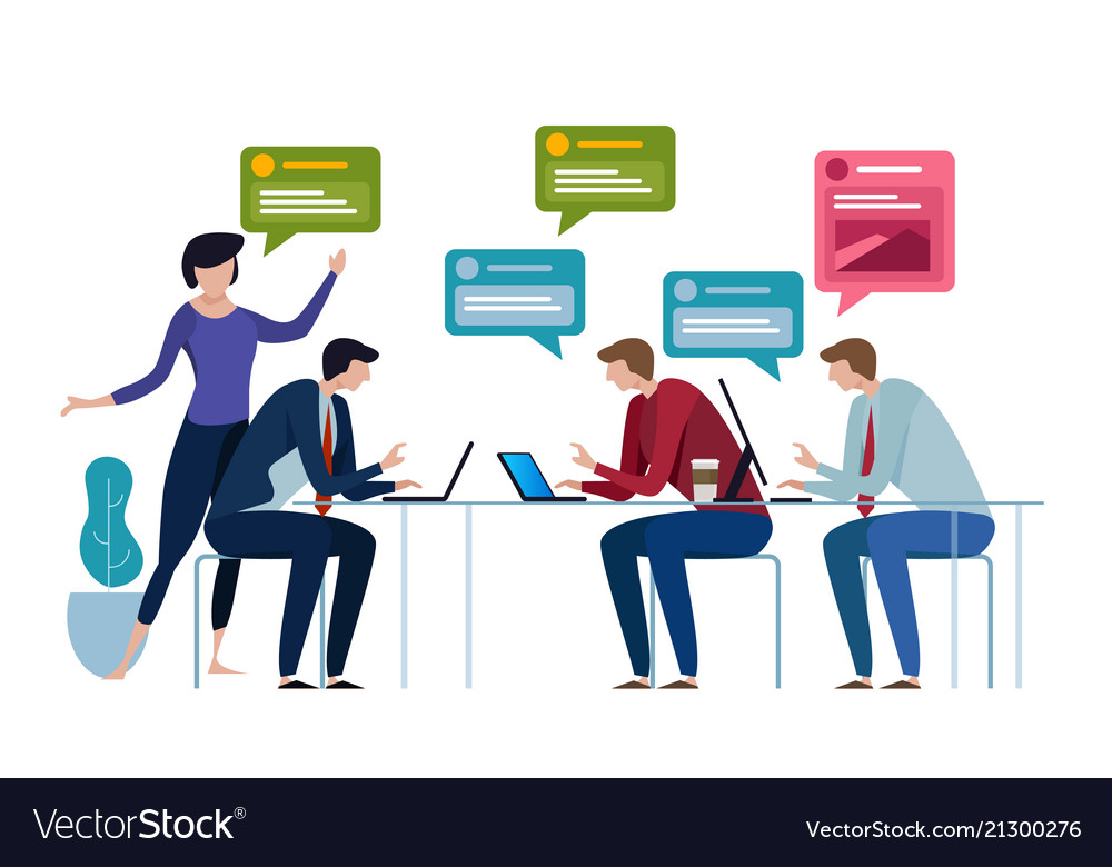 Chat group speech bubble business people working