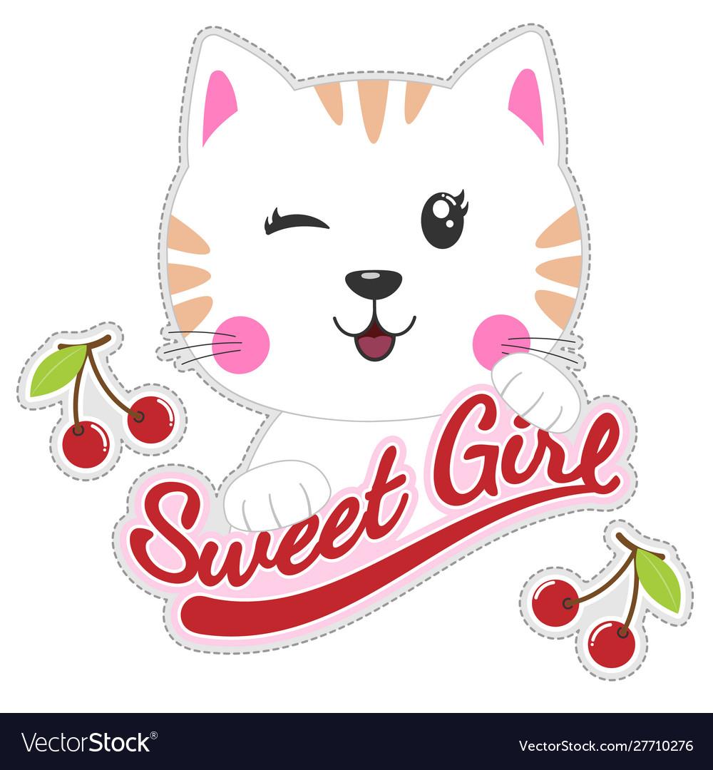 Cute Beautiful Cat Girl Royalty Free Vector Image