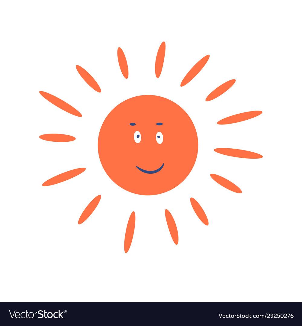 Cute sun cartoon character smiling clip art