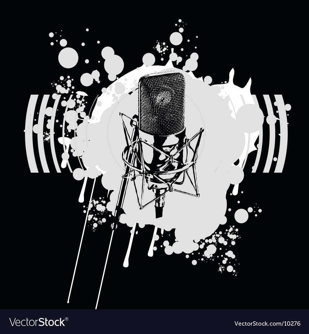 Graffiti black and white microphone