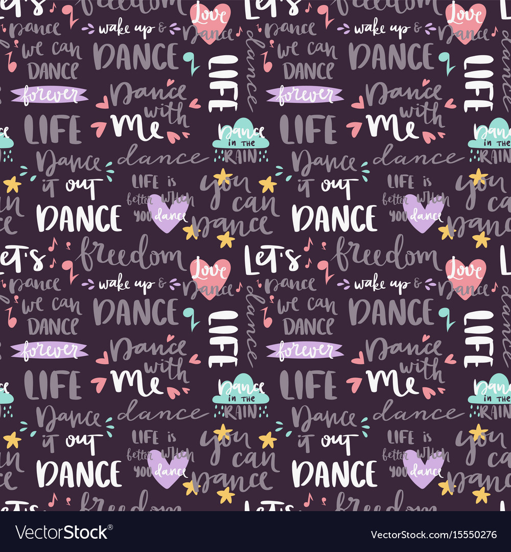 Handdrawn lettering love dance and music quote vector image