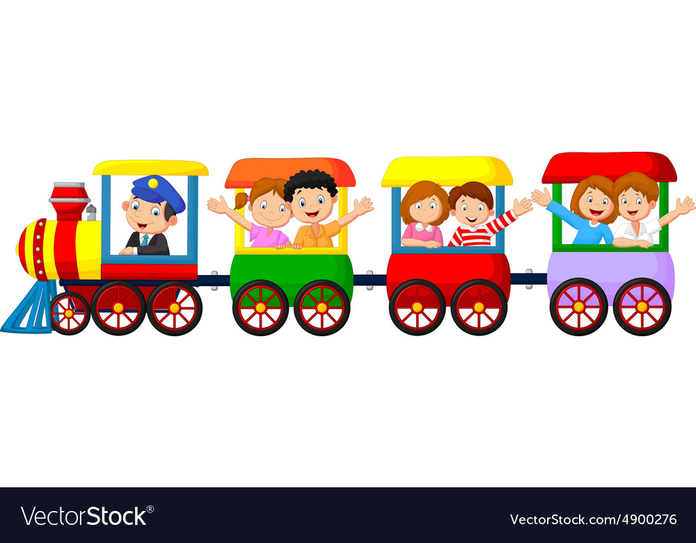 Happy Kids On A Colorful Train Royalty Free Vector Image
