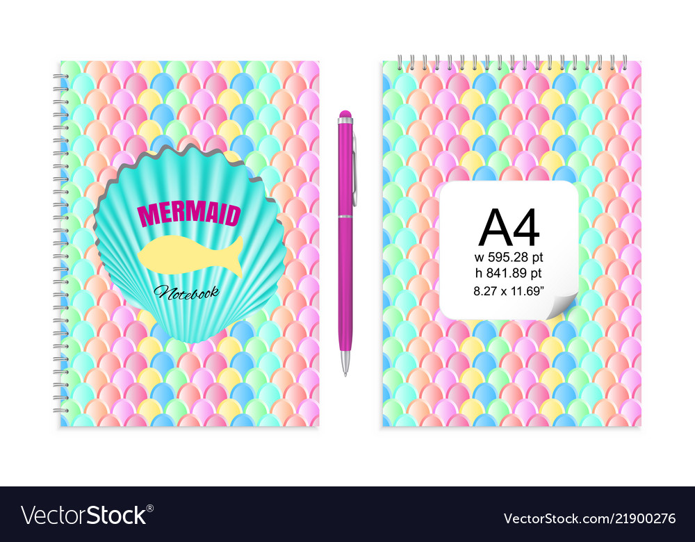 Mockup With Mermaid Tail Scales Pattern For Vector Image