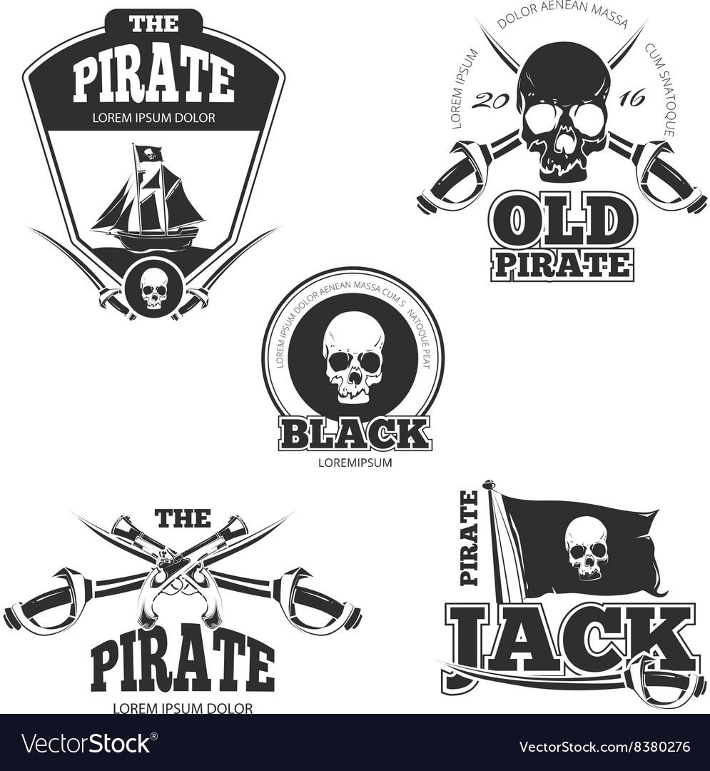 Pirate logo labels and badges Vintage