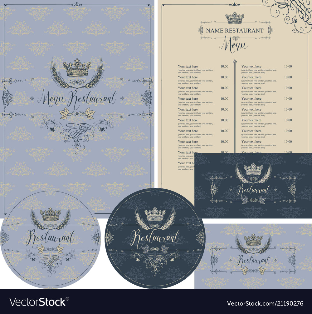 Set of design elements for restaurant with crown