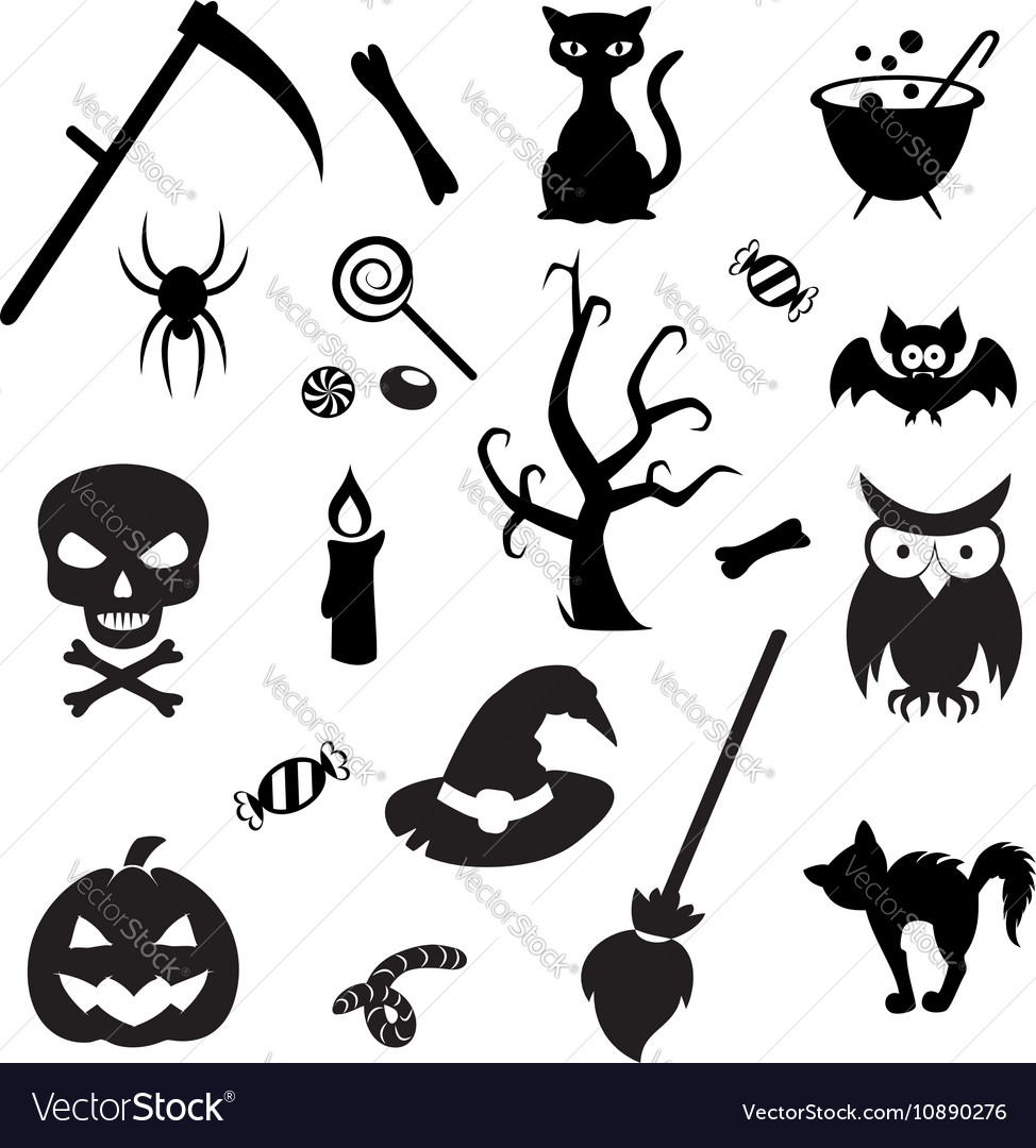 Set of Halloween elements Collection of icon for