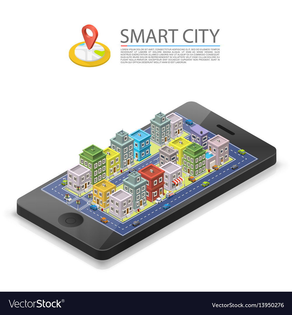 Smart city isometric app device mark object on a vector image