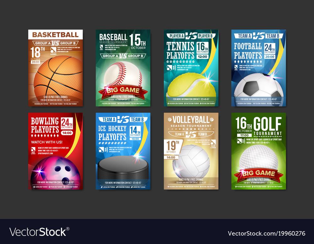 sport posters set golf baseball ice royalty free vector