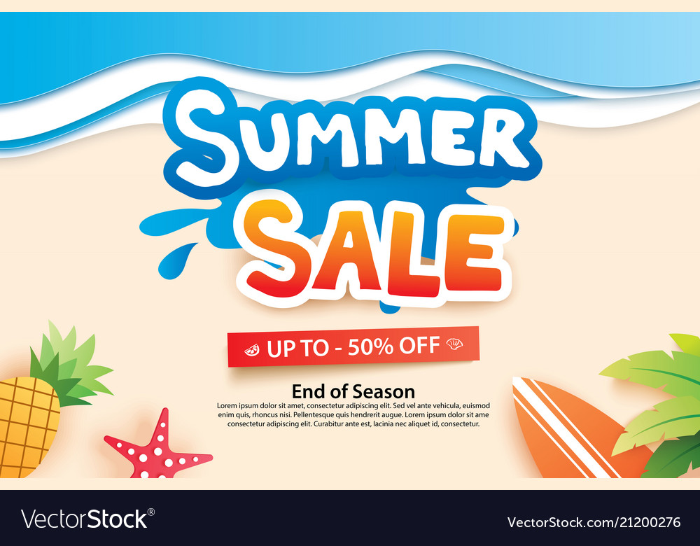 Summer sale with paper cut symbol and icon
