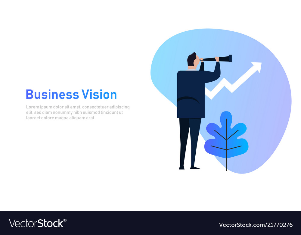 Vision and growth concept businessman looks