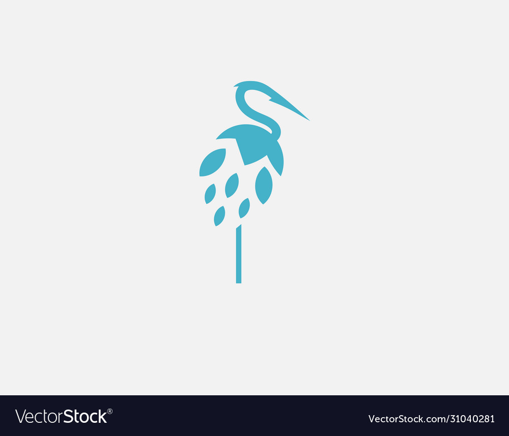 Abstract simple blue heron bird logo icon