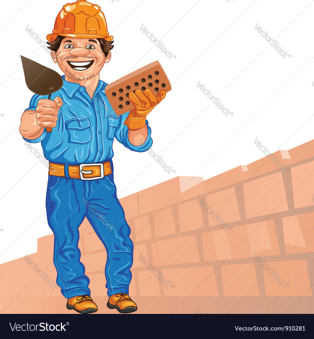 Cheerful bricklayer with brick and trowel vector image